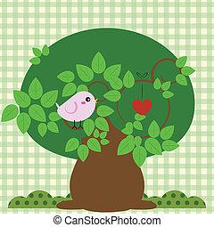πουλί , μέσα , ένα , δέντρο , με , αγάπη