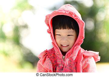 πουλόβερ , φόντο. , bokeh, κουκούλα , μικρό , κορίτσι , λατρευτός , κόκκινο