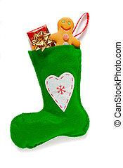 πράσινο , διακοπές χριστουγέννων κάλτσα , απομονωμένος