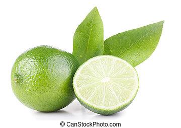 πράσινο , λεμόνι , και , φύλλα