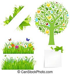 πράσινο , λουλούδια , γρασίδι , δέντρο