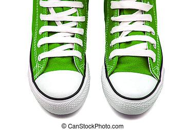 πράσινο , πάνινα παπούτσια