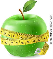 πράσινο , ταινία , μήλο , μέτρο