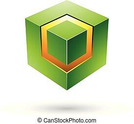 πράσινο , τολμηρός , κύβος , με , λαμπερός , πυρήνας ,...