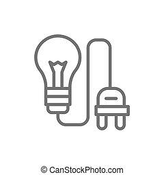 πρίζα , ελαφρείς , ηλεκτρικός , συνδέω , βολβός , γραμμή , icon.