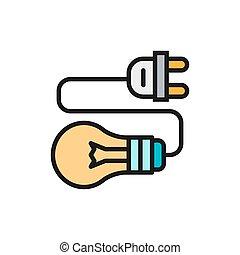 πρίζα , ηλεκτρικός , ελαφρείς , συνδέω , αδρανής αμυντική γραμμή , βολβός , icon., χρώμα