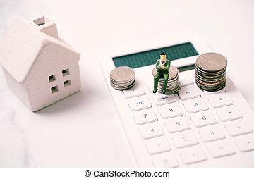 πραγματικός , αριθμομηχανή , ακόλουθοι βαρύνω , νούμερο , σπίτι , μινιατούρα , κτήμα , οικονομικός , κέρματα , γενική ιδέα , θημωνιά , επιχείρηση