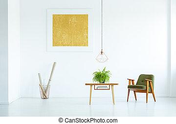 πραγματικός , ζούμε , εργοστάσιο , δωμάτιο , mockup, αφίσα , ακάθιστος , πράσινο , φωτογραφία , εσωτερικός , τραπέζι , άσπρο , επόμενος , πολυθρόνα