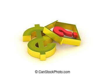 πραγματικός θέση αρμοδιότητα , δολάριο , ερωτηματικό , σήμα