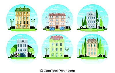 πραγματικός , κτίρια , θέτω , κτήμα , eco, σπίτι , ενέργεια , μοντέρνος , συλλογή , ικανός , ηλιακός , τουρμπίνα , διαιρώ σε ορθογώνια , αέρας