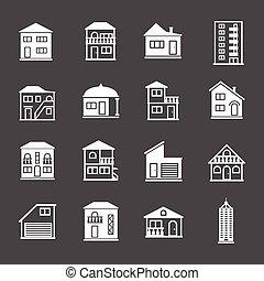 πραγματικός , κτίριο , θέτω , κτήμα , σπίτι , icons., συλλογή