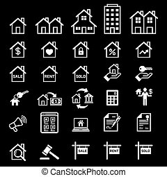 πραγματικός , μικροβιοφορέας , κτήμα , icons., illustrations.