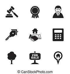 πραγματικός , χειραψία , δημοπρασία , κτήμα , icons., sale.