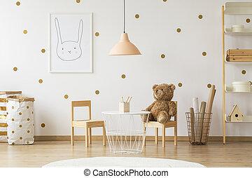πραγματικός , poster., δωμάτιο , χρυσός , teddy , ξύλινος , φωτογραφία , αρκούδα , επόμενος , λάμπα , εσωτερικός , τραπέζι , καρέκλα , αστειεύομαι