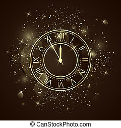 πρακτικά , γιορτή , έτος , χρυσαφένιος , δώδεκα , ρολόι , ακτινοβολώ , ρωμαϊκός , πέντε , numbers., καινούργιος , sparkles., countdown., δίσκοs τηλεφώνου , νύκτα , μικροβιοφορέας