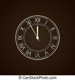 πρακτικά , γιορτή , έτος , χρυσαφένιος , πέντε , δώδεκα , ρολόι , ρωμαϊκός , numbers., καινούργιος , countdown., δίσκοs τηλεφώνου , night., μικροβιοφορέας
