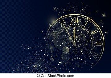 πρακτικά , πριν , έτος , μαγεία , φόντο. , χρυσαφένιος , αντίστροφη μέτρηση , xριστούγεννα , πέντε , ρωμαϊκός , αριθμοί , καινούργιος , chimes., δίσκοs τηλεφώνου , ρολόι , twelve., ακτινοβολώ , μικροβιοφορέας