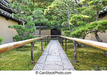 προσεγγίζω , δρόμοs , να , ο , κρόταφος , koto-in, ένα , sub-temple, από , daitoku-ji