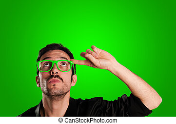 προσεκτικός , γυαλιά , πράσινο , άντραs