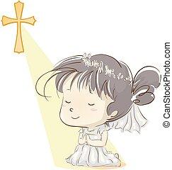 προσεύχομαι , κορίτσι , παιδί , επαφή , πρώτα