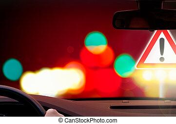 προσοχή , - , οδήγηση , επικίνδυνος
