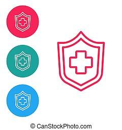 προστασία , buttons., άσπρο , ασθενής , concept., απομονωμένος , κόκκινο , εικόνα , ασφάλεια , protection., προστατεύω , ασφάλεια , απεικόνιση , κύκλοs , θέτω , μικροβιοφορέας , φόντο. , υγεία , γραμμή , ασφάλεια