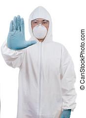 προστατευτικός , κινέζα , εκδήλωση , σταματώ , επιστήμονας , φορώ , χειρονομία , ασιάτης