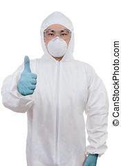 προστατευτικός , κινέζα , πάνω , επιστήμονας , φορώ , ασιάτης , αντίστοιχος δάκτυλος ζώου