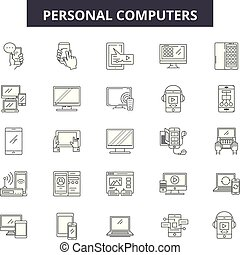 προσωπικό , απομονωμένος , illustration:, οθόνη , pc , θέτω , υπολογιστές , περίγραμμα , γενική ιδέα , οθόνη , vector., προσωπικό , γραμμή , ηλεκτρονικός υπολογιστής , αναχωρώ , απεικόνιση , desktop