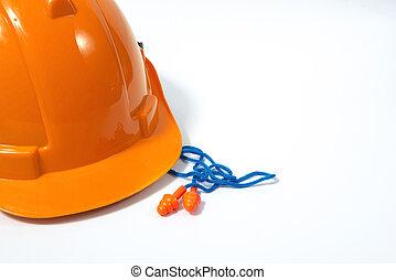 προσωπικό , concept., εξοπλισμός , θέση , δομή , ασφάλεια , πορτοκάλι , αναφλεκτήρας , αυτί , reusable