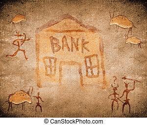 προϊστορικός , ζωγραφική , βυθίζομαι , τράπεζα