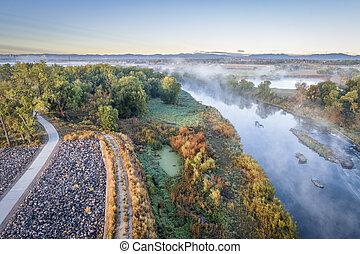 πρωί , ομίχλη , πάνω , ένα , ποτάμι , μέσα , colorado