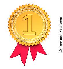 πρωτείο , βραβείο , ταινία , μετάλλιο , χρυσαφένιος , κόκκινο , νικητήs , εικόνα