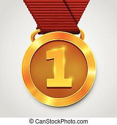 πρωτείο , βραβείο , χρυσό μετάλλιο , με , κόκκινο , ribbon.