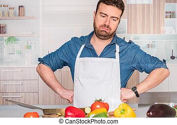 πρόβλημα , κουζίνα , ανατρέπω , άντραs , άθυμος