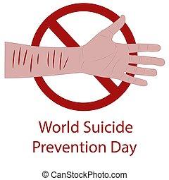 πρόληψη , αιματώδης , αρσενικό , σεπτέμβριοs , αγνοώ , wrist., day., κόσμοs , εικόνα , χέρι , μικροβιοφορέας , 10., απομονωμένος , αυτοκτονία