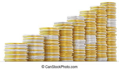 πρόοδοσ, εξέλιξη , και , success:, χρυσαφένιος , και , ασημένια , κέρματα