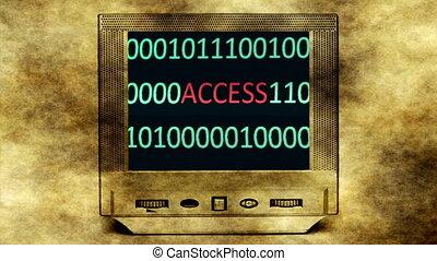 πρόσβαση , δεδομένα , επάνω , γριά , οθόνη , οθόνη