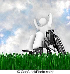 πρόσωπο , αναπηρική καρέκλα , απολαμβάνω , έξω