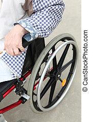 πρόσωπο , μέσα , ένα , αναπηρική καρέκλα