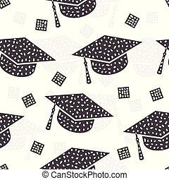 πρότυπο , αφαιρώ , σκούφοs , seamless, αποφοίτηση , φόντο