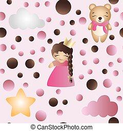 πρότυπο , με , γελοιογραφία , χαριτωμένος , παιχνίδι , βρέφος δεσποινάριο , και , αρκούδα