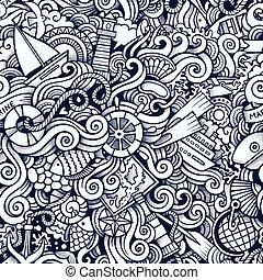 πρότυπο , ναυτικός , seamless, χέρι , doodles, μετοχή του ...