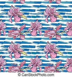 πρότυπο , grunge , λουλούδια , μπλε , seamless, ραβδωτός , ορχιδέα