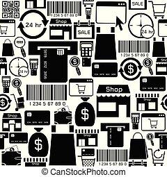 πρότυπο , icon., ψώνια , seamless, φόντο