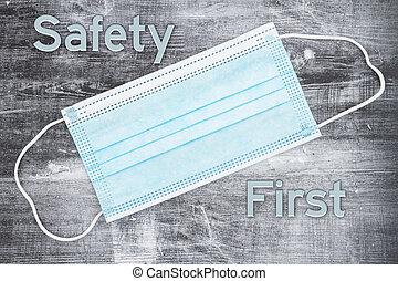 πρώτα , μάσκα , ασφάλεια , μπλε , μήνυμα , αγαθός αντικρύζω
