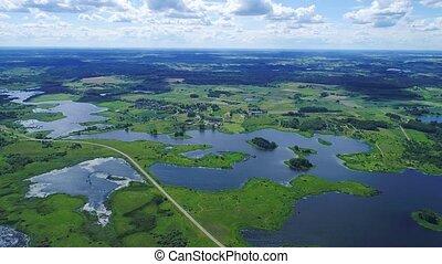 πτήση , πάνω , λίμνες , και , βοσκοτόπι , γη