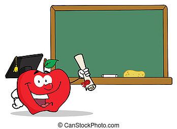 πτυχίο , απόφοιτοs , κράτημα , μήλο