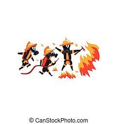 πυροσβέστες , γράμμα , πυροσβέστης , φωτιά , εικόνα , ομοειδής , νερό , αφρός θάλασσας , μικροβιοφορέας , φόντο , άσπρο