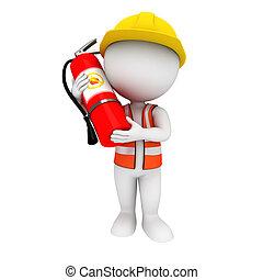 πυροσβεστήρας , άσπρο , 3d , άνθρωποι